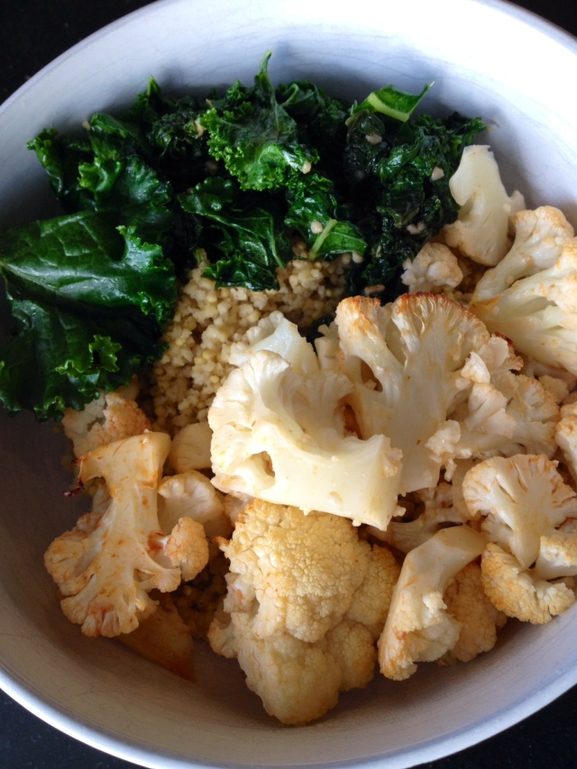 Roasted Cauliflower and Millet bowl with Kale